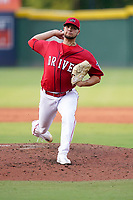 Starting pitcher Grant Gambrell (31) of the Greenville Drive in a game against the Hickory Crawdads on Friday, June 18, 2021, at Fluor Field at the West End in Greenville, South Carolina. (Tom Priddy/Four Seam Images)