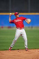 Philadelphia Phillies Emmanuel Marrero (16) during a minor league Spring Training game against the Toronto Blue Jays on March 26, 2016 at Englebert Complex in Dunedin, Florida.  (Mike Janes/Four Seam Images)