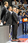 Real Madrid´s coach team keep a silence minute during 2014-15 Liga Endesa match between Real Madrid and Unicaja at Palacio de los Deportes stadium in Madrid, Spain. April 30, 2015. (ALTERPHOTOS/Luis Fernandez)