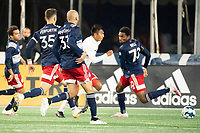 FOXBOROUGH, MA - OCTOBER 16: Dominick Hernandez #15 of North Texas SC scores the North Texas goal during a game between North Texas SC and New England Revolution II at Gillette Stadium on October 16, 2020 in Foxborough, Massachusetts.