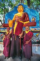 Kathmandu, Nepal 1996 . Tibetan Lama and his twin grandsons, 1996