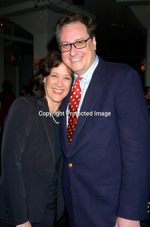 """Karen Ziemba and Douglas Carter Beane ..at a Fundraiser for Drama Dept called """" What Fresh Hell Is This? The Actors read from the works of Dorothy Parker. ..It was on April 13, 204 at the Tribeca Rooftop in New YOrk City. People Magazine was one of the sponsors. ..Photo by Robin Platzer, Twin Images"""