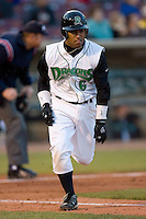 Dave Sappelt #6 of the Dayton Dragons hustles down the first base line versus the Great Lakes Loons at Fifth Third Field April 22, 2009 in Dayton, Ohio. (Photo by Brian Westerholt / Four Seam Images)