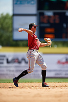 Altoona Curve shortstop Cole Tucker (3) throws to first base during a game against the Binghamton Rumble Ponies on June 14, 2018 at NYSEG Stadium in Binghamton, New York.  Altoona defeated Binghamton 9-2.  (Mike Janes/Four Seam Images)