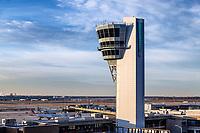 Air traffic control tower, Philadelphia International Airport, USA.