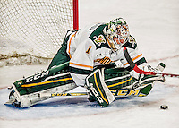 15 November 2015: University of Vermont Catamount Goaltender Mike Santaguida, a Junior from Mississauga, Ontario, makes a third period save against the University of Massachusetts Minutemen at Gutterson Fieldhouse in Burlington, Vermont. The Minutemen rallied from a three goal deficit to tie the game 3-3 in their Hockey East matchup. Mandatory Credit: Ed Wolfstein Photo *** RAW (NEF) Image File Available ***
