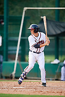 GCL Braves catcher Logan Brown (28) at bat during the first game of a doubleheader against the GCL Yankees West on July 30, 2018 at Champion Stadium in Kissimmee, Florida.  GCL Yankees West defeated GCL Braves 7-5.  (Mike Janes/Four Seam Images)