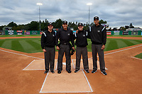 Umpires Ethan Gorsak, Cliburn Rondon, Joe Belangia, and Jon-Tyler Shaw before a NY-Penn League Semifinal Playoff game between the Lowell Spinners and Batavia Muckdogs on September 4, 2019 at Dwyer Stadium in Batavia, New York.  Batavia defeated Lowell 4-1.  (Mike Janes/Four Seam Images)