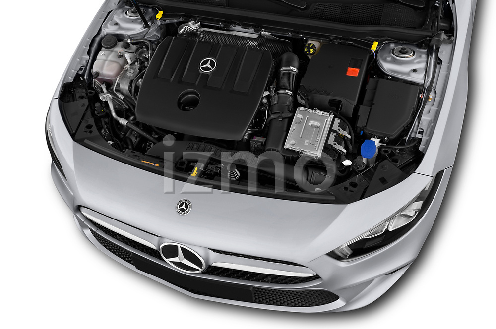 Car Stock 2019 Mercedes Benz A-Class Progressive 5 Door Hatchback Engine  high angle detail view