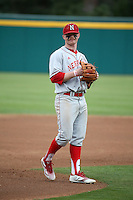 Jake Placzek (4) of the Nebraska Cornhuskers during a game against the Long Beach State Dirtbags in the second game of a doubleheader at Blair Field on March 5, 2016 in Long Beach, California. Long Beach State defeated Nebraska, 3-1. (Larry Goren/Four Seam Images)