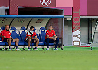 TOKYO, JAPAN - JULY 21: Vlatko Andonovski Head Coach of the USWNT sits on bench during a game between Sweden and USWNT at Tokyo Stadium on July 21, 2021 in Tokyo, Japan.