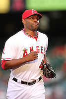 Los Angeles Angels outfielder Torii Hunter #48 during game against the Tampa Bay Rays at Angel Stadium on June 18, 2011 in Anaheim,California. (Larry Goren/Four Seam Images)