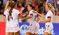 HOUSTON, TX - FEBRUARY 03: Carli Loyd #10 and Lindsey Horan #9 of the United States celebrate their goal during a game between Costa Rica and USWNT at BBVA Stadium on February 03, 2020 in Houston, Texas.