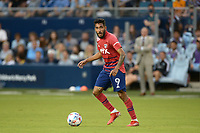 KANSAS CITY, KS - JULY 31: Jesus Ferreira #9 FC Dallas with the ball during a game between FC Dallas and Sporting Kansas City at Children's Mercy Park on July 31, 2021 in Kansas City, Kansas.