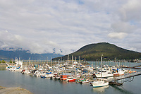 Boats in the Haines Alaska, town harbor