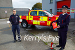 Kerry Fire Brigade launch the Fire Safety Week at the Tralee Fire station on Friday. L to r: John O'Donnell (Sub Station Officer) and Maurice O'Connell (Senior Assist Chief Fire Officer) of the Kerry Fire Brigade