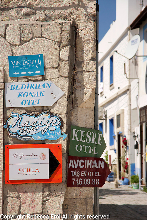 Signs for hotels in Alacati, Turkey