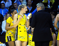 Katrina Grant chats with Pulse coach Tanya Dearns during the ANZ Championship netball match between the Central Pulse and Southern Steel at TSB Bank Arena, Wellington, New Zealand on Monday, 23 May 2016. Photo: Dave Lintott / lintottphoto.co.nz