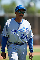 AZL Royals coach Willie Aikens (24) during an Arizona League game against the AZL Dodgers Lasorda on July 4, 2019 at Camelback Ranch in Glendale, Arizona. The AZL Royals defeated the AZL Dodgers Lasorda 4-1. (Zachary Lucy/Four Seam Images)