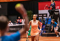 Den Bosch, The Netherlands, April 16, 2021,    Maaspoort, Billy Jean King Cup  Netherlands -  China , seccond day first match: a ballboy throws a ball to Lesley Pattinama-Kerkhove (NED)  <br /> Photo: Tennisimages/Henk Koster