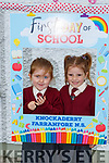 Cousins Saoirse O'Sullivan Reidy and Riley O'Sullivan on their first day of school in Knockaderry NS Farranfore on Monday