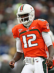 Miami Hurricanes quarterback Jacory Harris (12) in action during the 2010 Hyundai Sun Bowl football game between the Notre Dame Fighting Irish and the Miami Hurricanes at the Sun Bowl Stadium in El Paso, Tx. Notre Dame defeats Miami 33 to 17...