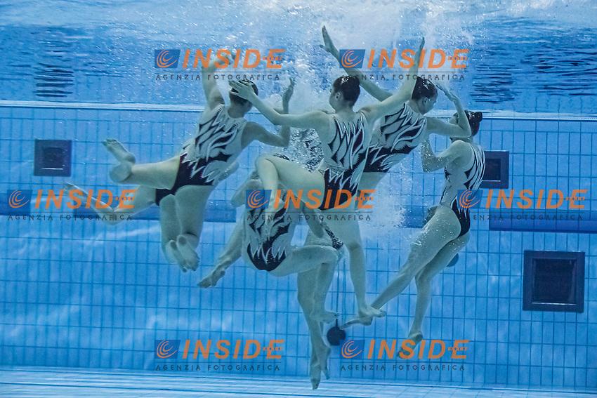 Team Ukraine<br /> Artistic swimming team free <br /> Duna Arena, Budapest 14/05/2021 <br /> Budapest/Hungary<br /> Photo © A. Kovacs/Deepbluemedia/Insidefoto