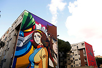 Title: Jeeg Robot<br /> Artist: Solo<br /> District: Tor Bella Monaca, public housing district and disadvantaged east suburb <br /> Rome January 16th 2019. Street Art in Rome. Very important writers painted Murales in various districts of Rome to tell stories about the city, to commemorate important moments, to embellish the quarter or simply to portray it.<br /> Foto Samantha Zucchi Insidefoto