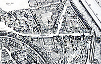 Frankfurt: Bird's -eye view, 1628. Detail showing truck gardens & orchards within city walls. Reference only.