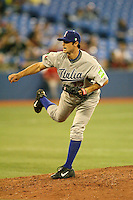 March 7, 2009:  Pitcher Alex Maestri (17) of Italy during the first round of the World Baseball Classic at the Rogers Centre in Toronto, Ontario, Canada.  Venezuela defeated Italy 7-0 in both teams opening game of the tournament.  Photo by:  Mike Janes/Four Seam Images