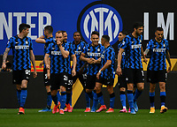 Inter Milan's Lautaro Martinez, center, celebrates with his teammates after scoring during their Italian Serie A football match against Sampdoria at Milan's Giuseppe Meazza stadium, May 8, 2021.<br /> UPDATE IMAGES PRESS/Isabella Bonotto