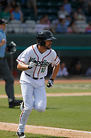 Down East Wood Ducks designated hitter Michael O'Neill (10) at bat during a game against the Salem Red Sox at Grainger Stadium on April 16, 2017 in Kinston, North Carolina. Salem defeated Down East 9-2. (Robert Gurganus/Four Seam Images)