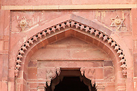 Fatehpur Sikri, Uttar Pradesh, India.   Hindu Corbelled and Islamic Arches above Entrance to Jodhbai's Palace, Residence of the Emperor's Senior Wives.  Star of David.