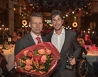 Amsterdam, Netherlands, December 12, 2016, Harbour Club, Tennisser van het Jaar,  Robin Haase receives the Richard Krajicek penning out of the hands of Jan Siemerink<br /> Photo: Tennisimages/Henk Koster