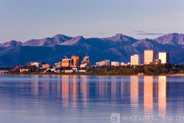 The Anchorage Skyline at sunset, taken from the Tony Knowles Coastal Trail, late summer, Anchorage, Southcentral Alaska, USA.