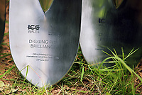 Pictured: The commemorative spades used for the ground braking. Friday 23 June 2017<br /> Re: First Minister for Wales Carwyn Jones has joined Sir Terry Matthews, Chairman of the Celtic Manor Resort; Stephen Bowcott, Chief Executive of Sisk Group Construction; and Debbie Wilcox, Leader of Newport City Council, to break ground on the site of the new ICC Wales.<br /> Around 80 invited guests from the public and private sectors of the events industry have also witnessed the ground breaking ceremony which marks the official start of the construction of the new venue, due to open in 2019.<br /> The dignitaries will use commemorative spades to symbolically dig the first ground on the new site, marking the start of building work in earnest.