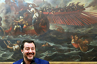 Matteo Salvini and on his shoulders the painting 'Lepanto battle', with boats and shipwrecked, fought on October 7th 1571 during the Cipro's War, between the Ottomans and the Christians Navy<br /> Rome February 11th 2019. Sala Salvadori. The Italian Minister of Internal Affairs in press conference after the outcome of regional elections in Abruzzo.<br /> Foto Samantha Zucchi Insidefoto