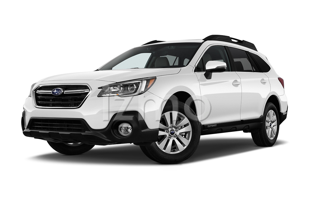 Stock pictures of low aggressive front three quarter view of a 2018 Subaru Outback Premium 5 Door Wagon