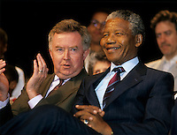 FILE PHOTO - Federal minister  Joe Clark (L) and Nelson Mandela (R), June 20, 1990.<br /> <br /> Photo : Pierre Roussel - Agence Quebec Presse
