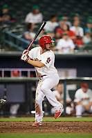Memphis Redbirds shortstop Paul DeJong (11) at bat during a game against the Round Rock Express on April 28, 2017 at AutoZone Park in Memphis, Tennessee.  Memphis defeated Round Rock 9-1.  (Mike Janes/Four Seam Images)