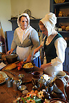 Heritage Days Festival. Union County. Colonial women in kitchen preparing apple sauce.