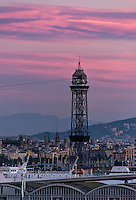 City and San Sebastian tower, Barcelona, Spain