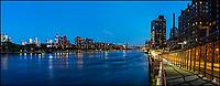 East River, Roosvelt Island and Upper East Side after sunset.