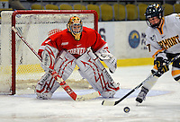 25 October 2008: Cornell University goaltender Kayla Strong, a Sophomore from Calgary, Alberta, in action against the University of Vermont Catamounts at Gutterson Fieldhouse, in Burlington, Vermont. The Big Red defeated the Catamounts 5-1 to sweep their 2-game series in Vermont...Mandatory Photo Credit: Ed Wolfstein Photo