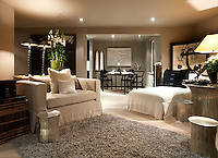 A large upholstered armchair and daybed furnish the living room which connects with a small dining area