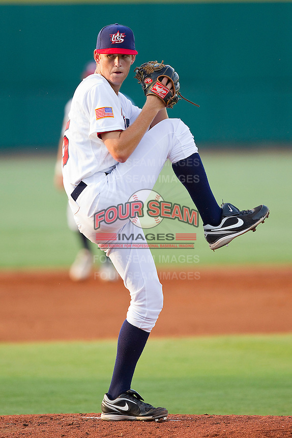 Cole Irvin #25 of the USA 18u National Team in action against the USA Baseball Collegiate National Team at the USA Baseball National Training Center on July 2, 2011 in Cary, North Carolina.  The College National Team defeated the 18u team 8-1.  Brian Westerholt / Four Seam Images