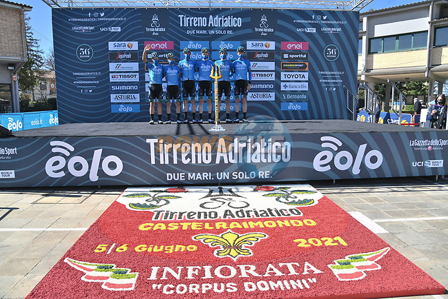 Eolo-Kometa Cycling Team at sign on before the start of Stage 6 of Tirreno-Adriatico Eolo 2021, running 169km from Castelraimondo to Lido di Fermo, Italy. 15th March 2021. <br /> Photo: LaPresse/Gian Mattia D'Alberto | Cyclefile<br /> <br /> All photos usage must carry mandatory copyright credit (© Cyclefile | LaPresse/Gian Mattia D'Alberto)