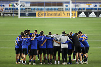 SAN JOSE, CA - OCTOBER 18: San Jose Earthquakes huddle before a game between Seattle Sounders FC and San Jose Earthquakes at Earthquakes Stadium on October 18, 2020 in San Jose, California.