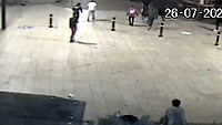 BNPS.co.uk (01202) 558833. <br /> Video: BNPS<br /> <br /> With Video - NEW Download Link: https://we.tl/t-jFBHCA9sRz<br /> <br /> Pictured: The group chase after the fleeing victim. <br /> <br /> This is the shocking moment a thug viciously swings a lethal machete at a young man in the centre of Britain's most popular tourist resort that is packed with holidaymakers.<br /> <br /> The assailant produces the 18ins blade from out of his rucksack, holds it above his head and then swings it at his rival.<br /> <br /> It was only because the victim was agile enough to dodge out of the way of the weapon that he wasn't struck by it.<br /> <br /> CCTV footage shows him then run away while pursued by a pack of eight would be attackers in Bournemouth.