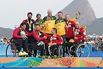 Rio 2016 - Para Sailing // Voile adapteé.<br /> Paul Tingley, Scott Lutes and Logan Campbell receive their bronze medal for the 3-Person Keelboat (Sonar) // Paul Tingley, Scott Lutes et Logan Campbell reçoivent leurs médailles de bronze pour le quillard 3 personnes (Sonar). 17/09/2016.